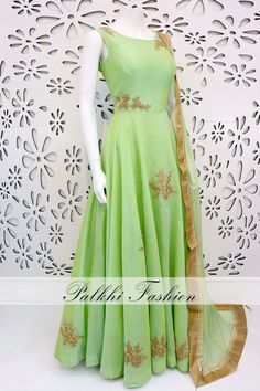 PalkhiFashion Exclusive Pastle Green Full Flair Soft Silk Outfit With Handwork & Beautiful Duppata Indian Gowns Dresses, Indian Fashion Dresses, Indian Outfits, Fashion Clothes, Long Gown Dress, Anarkali Dress, Anarkali Suits, Long Dresses, Long Dress Design