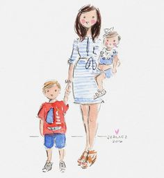 Children's Book Illustration, Watercolor Illustration, Watercolor Art, Watercolor Portraits, Mother Art, Mother And Baby, Family Drawing, Drawing For Kids, Mother And Child Painting