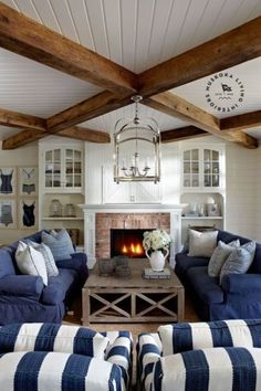 Coastal Cottage Living Room Furniture 29 Lake Muskoka Cottage with Coastal Interiors Home Bunch Interior Design Ideas 1 Cottage Living Rooms, Coastal Living Rooms, My Living Room, Cottage House, Cozy Living, Cottage Art, Living Room Ceiling Ideas, Cottage Ideas, Living Spaces