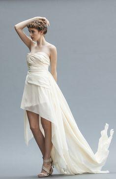 Golden Ivory Wedding Gown Gown Backless Gown by elikadesigns Chiffon Wedding Gowns, Wedding Dress Sash, Wedding Dresses, Ivory Wedding, Backless Gown, Elegant Bride, Bride Look, Silk Chiffon, Romantic