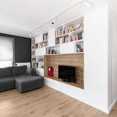 Mieszkanie mim minimalistyczna łazienka od 081 architekci minimalistyczny | homify Small Apartments, Home Interior Design, Corner Desk, Bookcase, New Homes, Shelves, Wood, Kitchen, Furniture