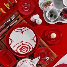 #zeugma #kırmızı #kahvaltı #sofrasanatı #porselen #kütahyaporselen #kahvaltıtakımı