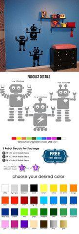 Robots Wall Decal Sticker - Robots Decal for Walls - Robot Decal for Children - Nursery modern robots decal set