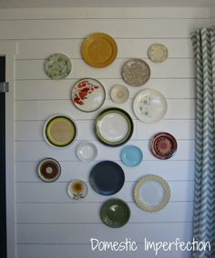 DIY Hanging Plate Wall Decoration - how to hang plates using paper clips
