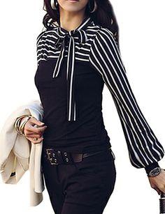 Γυναικεία T-shirt Μεγάλα Μεγέθη Ριγέ,Μακρυμάνικο Όλες τις Εποχές Μεσαίου Πάχους Βαμβάκι / Άλλα Άσπρο / Μαύρο 824025 2017 – €6.38