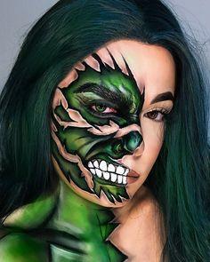 Special Makeup, Special Effects Makeup, Crazy Halloween Makeup, Halloween Inspo, Maquillage Harry Potter, Helloween Make Up, Creepy Makeup, Face Paint Makeup, Makeup Challenges