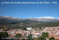 La Sierra de Gredos desde Arenas de San Pedro. Palacio Real del Infante Don Luis de Borbón o Palacio de la Mosquera. Ávila. Spain.