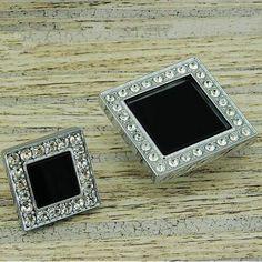 45mm modern fashion deluxe glass diamond drawer cabinet knobs pulls black crystal silver chrome dresser door handles pulls knobs #Affiliate