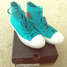 Converse All⭐️Star Hi-Top Converse All Star Hi-Top. Color: Mediterranea. Unisex, Size 4 Mens or Size 6 Womens. In like new condition, worn only twice. Clean inside and out. Comes with original box. Converse Shoes Sneakers