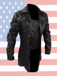 f195972853 ALL BLACK STEAMPUNK MENS LEATHER COAT JACKET GOTHIC TRENCH