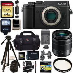 Panasonic LUMIX GX8 Mirrorless Micro Four Thirds Camera (Black), G Vario 12-60mm f/3.5-5.6 ASPH. POWER O.I.S. Lens, Transcend 64 GB Card, Polaroid Tripod, Polaroid Battery, Charger + Accessory Bundle. Capture moments with superb 4K imaging performance in both video and exclusive 4K PHOTO. Unique, in-body stabilization in combination with select optically stabilized lenses work together for class-leading Dual Image Stabilization results. Worry-free splash proof / dustproof rugged body…
