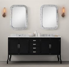 Pharmacy Double Vanity Sink Black