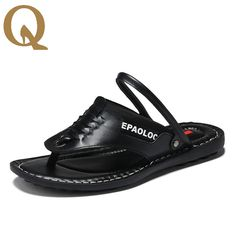 >> Click to Buy << Summer New Men's Leather Sandals Men's  Cool Flip Flops  Personality Trend Rome Style Beach Sandals  Hihgh Quality Men Slipper #Affiliate