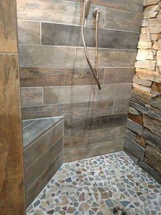 Trendy bathroom shower wall tile walk in Ideas Tile Walk In Shower, Walk In Shower Designs, Master Shower, Master Bathroom, Bathtub Shower, Bathroom Showers, Shower Floor, Rustic Bathroom Designs, Rustic Bathrooms
