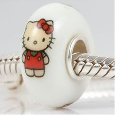 Yes, please! Hello Kitty glass and sterling silver bead for Pandora/Trollbead. £6.00