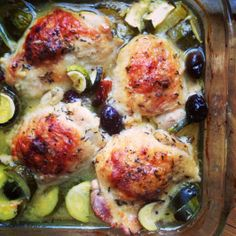 Baked Chicken Thighs with Zucchini with Olives
