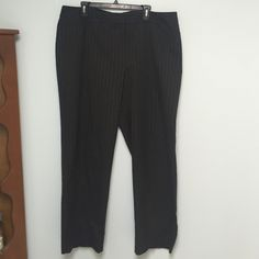 Apt 9 Dress Trousers Sz 20 Apt 9 Dress Trousers size 20. Built in elastic band in the back, shown in photo. Black with Silver pinstripes. Worn once Apt. 9 Pants Trousers
