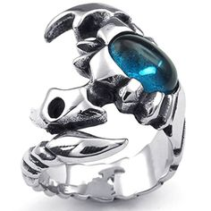 Mens Rings Stainless Steel Gothic Scorpion Blue Silvery Crystal Size 14 by Aienid. Solid Exquisite Finished Rings for U. High Quality Stainless Steel,High Strength,Low Elongation. Perfect for Your Apparel & Finger. Comfortable to Use,Please Treat Them Gently,Donot Rub Others. Nice Personalized Item,Nice Choice By Aienid Concept.