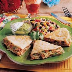 Chicken Quesadillas....whole fam enjoyed these. I did just about double the recipe though. Made them a little too big. Will make smaller next time.