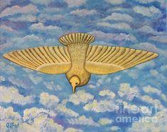 Spirit Descending like a Dove. Oil on canvas by Caroline Street. #oil-painting #doves #bird #birdinflight #fine-art #flight #Holy Spirit #Christian-art #birdart