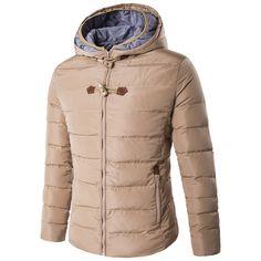 44.89$  Buy here - http://alixj2.worldwells.pw/go.php?t=32785981783 - Casual Winter Thick Padded Coat Khaki Mens Fashion Hooded Waterproof Overcoat Men's Fashion Solid Warm Jacket Men M-3XL