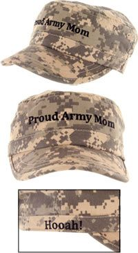 Proud Army Mom Military Cap at The Veterans Site...Oh I want this...I wonder if I can find one for his grandma