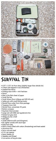 Survival tin, firestarters, cordage, cutting tools, fishing, EDC, bug out bag, BOB