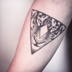 Awesome Dotwork Tiger In Triangle Tattoo On Forearm