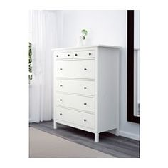 IKEA - HEMNES, 6-drawer chest, white, , Smooth running drawer with pull-out stop.If you want to organize inside you can complement with SKUBB box, set of 6.