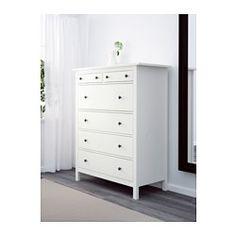 IKEA - HEMNES, Commode 6 tiroirs, teinté blanc, , En bois massif, un matériau naturel et résistant à l'usure.La commode est haute, ce qui offre un grand espace de rangement sans prendre de place dans la pièce.Les tiroirs, qui sont faciles à ouvrir et à fermer, sont équipés d'arrêts.Vous pouvez si vous le souhaitez organiser l'intérieur en ajoutant des boîtes SVIRA, lot de 3.