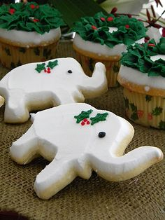 Cookies & cupcakes for a white elephant Christmas party!