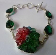 ♣  Silberarmband Agate-Geodenscheibe, Turmalin  ♣ von Cafe-bijoux auf DaWanda.com