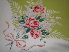 Vintage 50s Simtex Tablecloth Pink Roses and Ribbons