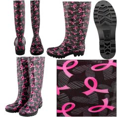 Pink Ribbons & Hearts  Rain Boots. Every Purchase Funds Mammograms for Women in Need.