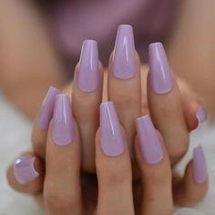 Blue Shellac Nails, Purple Acrylic Nails, Light Purple Nails, Coffin Press On Nails, Lavender Nails, Purple Nail Designs, Chrome Nails, Artificial Nails, Powder Nails