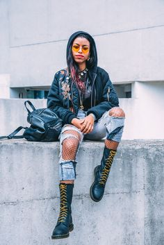 Street Style at The Great Escape 2016: the 1914 boot in black. Photographed by Gobinder Jhitta, featuring Nova Twins.