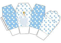 Cenicienta: cajas para imprimir gratis con lunares blancos y celestes.