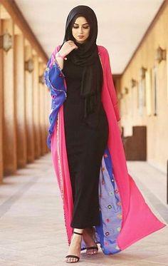 Latest Summer Kimono Hijab Outfit Inspirations – Girls Hijab Style & Hijab Fashion Ideas - Another! Muslim Women Fashion, Islamic Fashion, Latest Fashion For Women, Abaya Fashion, Modest Fashion, Girl Fashion, Fashion Outfits, Style Fashion, Kimono Hijab
