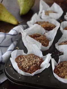 Pear, hazelnut & chocolate muffins {gluten free} | plusatesix.com