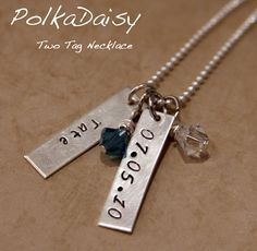 "Personalized ""mom"" necklace for kids by Polka Daisy.  Would use two names"