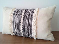 "12""x 20"" Black and White Vintage Hmong Fabric Decorative  Pillow Cover, Ethnic Hemp Batik  Boho Pillow Case, Organic Cotton Fringed Pillow"