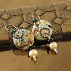 Porcelain Drop Earrings with Pearl in Sunshine by LocalTexture, $26.00