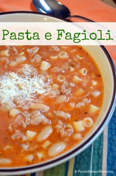 "Pasta e Fagioli - This soup is easy to prepare and super delicious. It's always a good sign when your kids say, ""more, please!"""