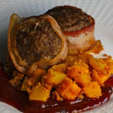 Venison Meatloaf with Blackberry BBQ Sauce and Buffalo Sweet Potato/Pumpkin Hash