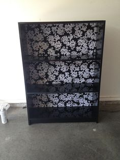 Old Particle Board Bookcase With A Fresh Coat Of Glossy Black Spray Paint And Fabric Covered Backboard Held Together Duck Tape Because It Was Broken