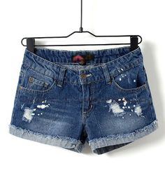 Dark Blue Low Waist Frayed Jean Shorts   Shorts you wear for months at a time!