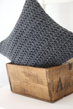 Chunky graphite grey crochet cushion by Linen & Lisle