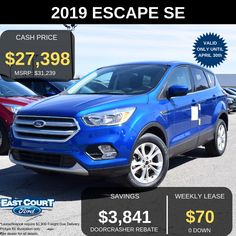 Stock# 04.06 - 97082  $0 Down, Lease for 48 months @ 0% APR.   SE FWD with 1.5L Ecoboost engine that is know as a combination of gas saver and performance.  >Heated Front Seats  > SIRIUS FM -6 Months subscription  >Dual Zone Auto AC  >FordPass connet  >Remote Keyless entry and more Ford Employee, Gas Saver, Car Deals, 2019 Ford, Keyless Entry, Car Ford, 6 Months, Ontario, Remote
