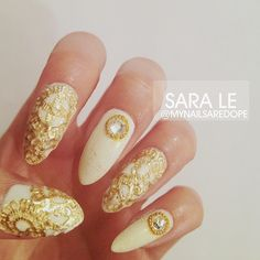 All gold everything. ✨ #nails #nailart #nailporn #dope #love #fashion #gold #lace #mynailsaredope