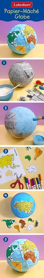 A Arte de Ensinar e Aprender: Globo terrestre feito com Papel Machê
